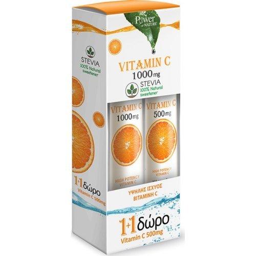 Power Health Vitamin C 1000mg Στέβια 24 αναβράζοντα δισκία και Vitamin C 500mg Στέβια 20 αναβράζοντα δισκία