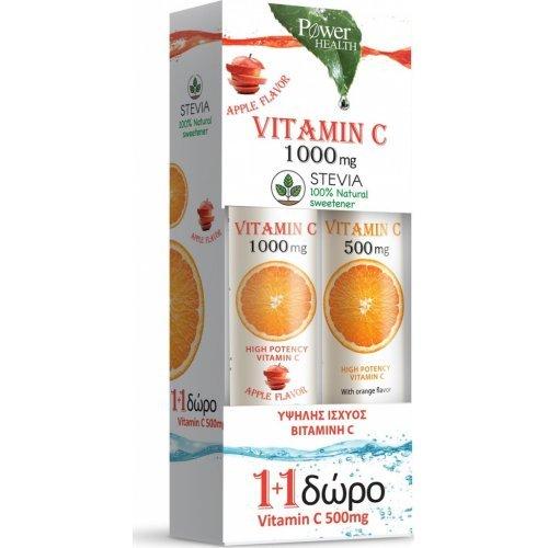 Power Health Vitamin C 1000mg Apple Stevia 24tabs and Vitamin C 500mg Orange 20tabs