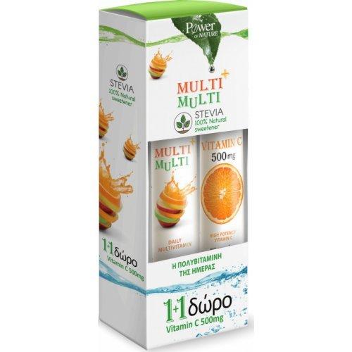Power Health Multi + Multi Με Στέβια 24 αναβράζοντα δισκία και Vitamin C 500mg 20 αναβράζοντα δισκία