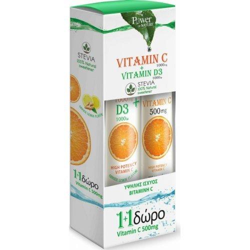 Power Health Vitamin C 1000mg and D3 1000iu Stevia 24 αναβράζοντα δισκία and Vitamin C 500mg 20 αναβράζοντα δισκία