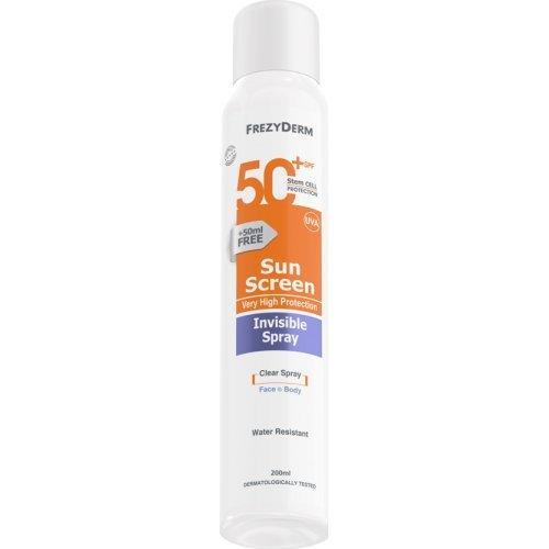 Frezyderm Διάφανο Αντηλιακό Σώματος Invisible Spray SPF 50+ 200ml
