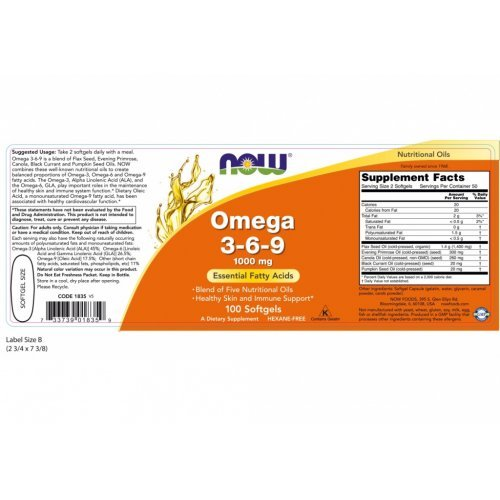 NOW OMEGA 3-6-9 1000 MG 100 Μαλακές Κάψουλες