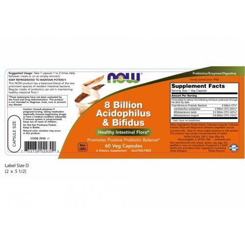 NOW 8 BILLION ACIDOPHILUS AND BIFIDUS VEG  60 Κάψουλες