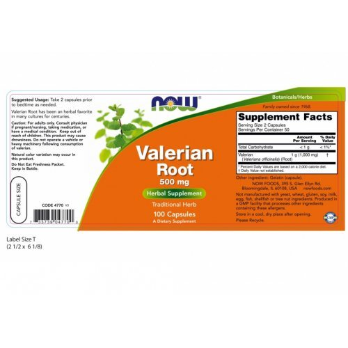 NOW VALERIAN ROOT 500 MG  100 Κάψουλες