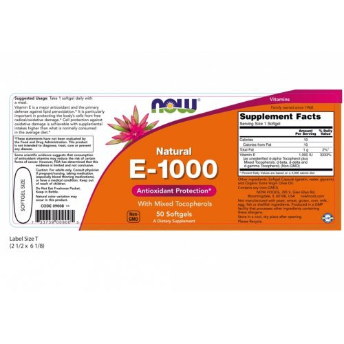 NOW VITAMIN E-1000 IU MIXED TOCOPHEROLS 50 Μαλακές Κάψουλες
