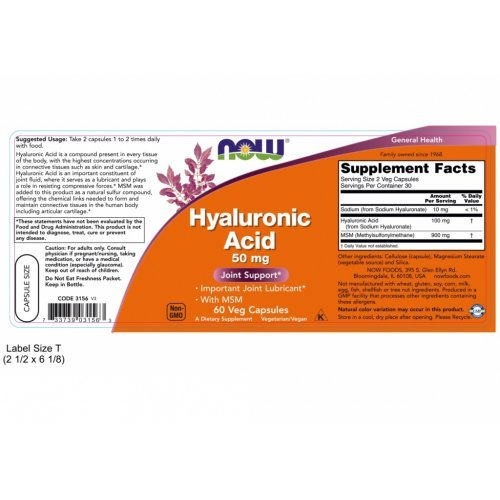NOW HYALURONIC ACID WITH MSM VEG  60 Κάψουλες