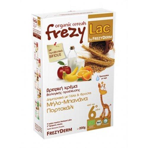 Βιολογική Βρεφική Κρέμα FREZYLAC Δημητριακών με Γάλα και Μήλο, Μπανάνα, Πορτοκάλι 200gr