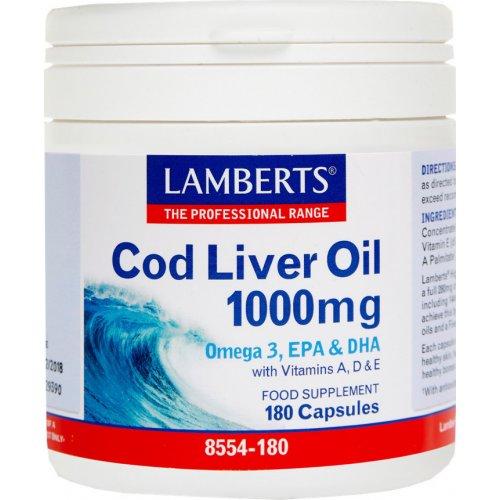 LAMBERTS Cod Liver Oil- Μουρουνέλαιο1000mg 180CAPS