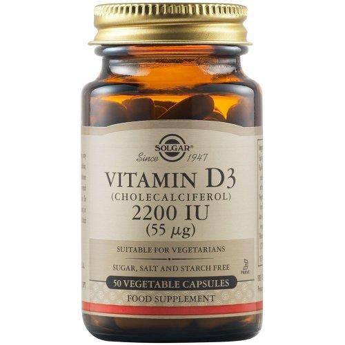 SOLGAR Vitamin D3 (Cholecalciferol) 2200IU 50 φυτικές κάψουλες