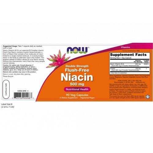 NOW FLUSH-FREE NIACIN 500 MG 90 Κάψουλες