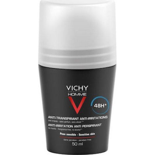 VICHY Αποσμητικό για Ευαίσθητες Επιδερμίδες Homme Deodorant Anti-Transpirant Roll-On 48h 50ml