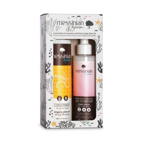 Messinian Spa Organic Olive Oil Wheat & Honey Conditioner 300ml & Leave In Conditioner 150ml
