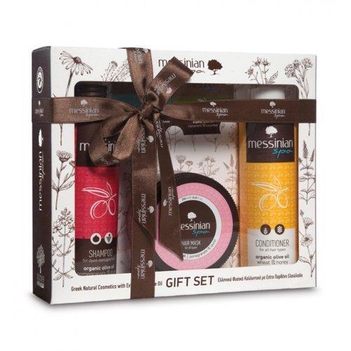 Messinian Spa Gift Set με Σιτάρι - Μέλι & Ρόδι - Σταφύλι Σαμπουάν 300ml, Μαλακτική κρέμα 300ml & Μάσκα μαλλιών 250ml