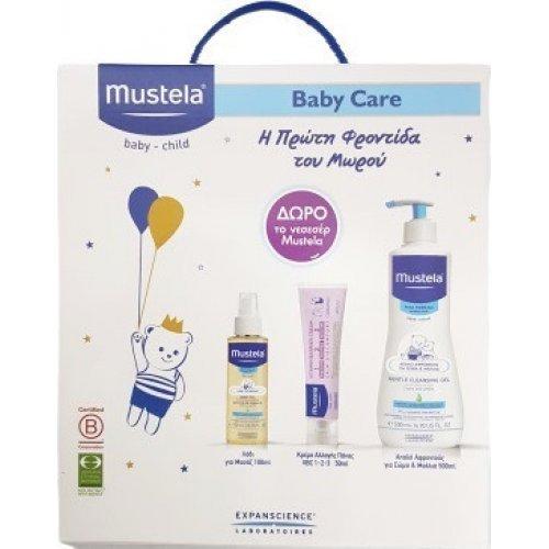 MUSTELA Promo Pack: Gentle Cleansing Gel 500ml and  Vitamin Barrier Cream 50ml and Baby Oil 110ml και Δώρο Νεσεσέρ