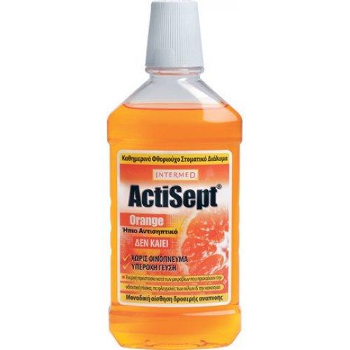 Intermed Actisept Orange Ήπιο Αντισηπτικό κατά των Μικροβίων που Προκαλούν την Οδοντική Πλάκα και τις Φλεγμονές στα Ούλα 500ml