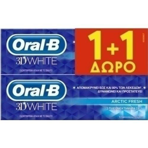 Oral-B 3D White Arctic Fresh Οδοντόκρεμα για Επιφανειακούς Λεκέδες 2x75ml