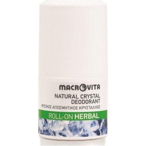 Macrovita Natural Crystal Deodorant Roll-On Herbal - Φυσικός Αποσμητικός Κρύσταλλος 50ml